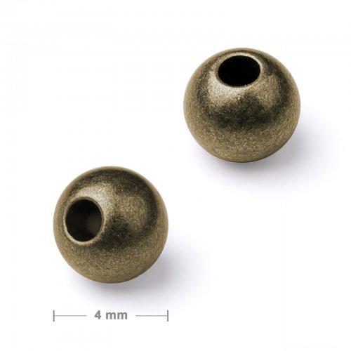 Kovový mezidíl korálek 4 mm staromosaz  30 ks v balení