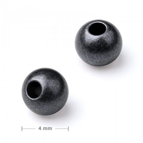 Kovový mezidíl korálek 4 mm antracit  30 ks v balení