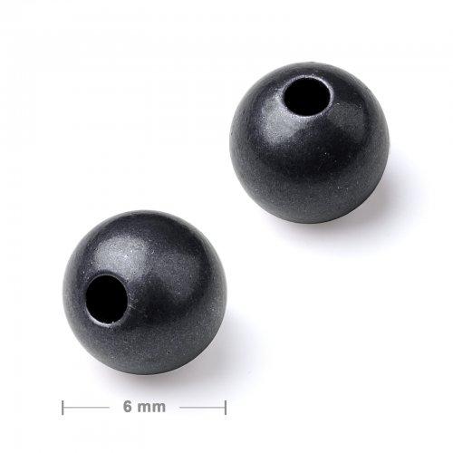Kovový mezidíl korálek 6 mm antracit  20 ks v balení