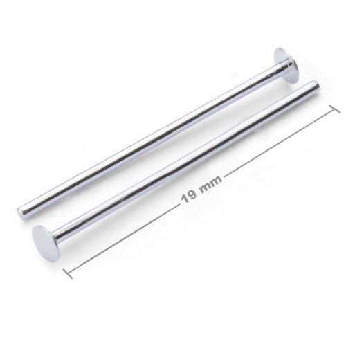 Ketlovací nýtové jehly 19mm stříbrné  10 ks v balení