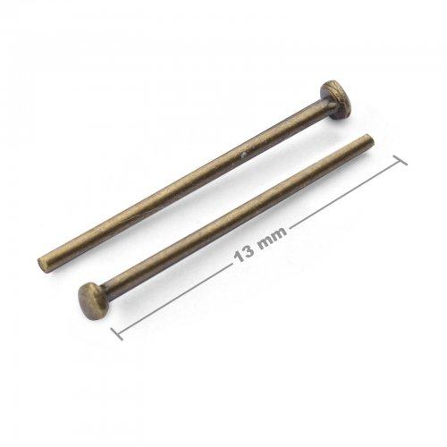 Ketlovací nýtové jehly 13mm staromosaz  10 ks v balení