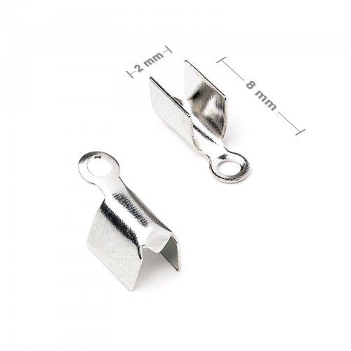 Plochá zamačkávací koncovka 2mm stříbrná  10 ks v balení