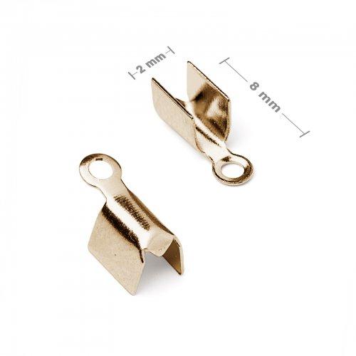 Plochá zamačkávací koncovka 2mm zlatá  10 ks v balení
