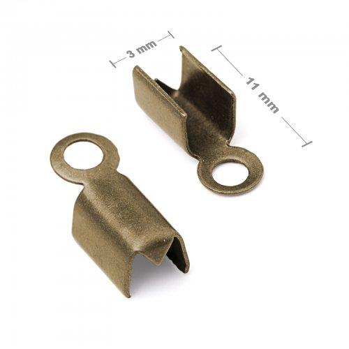 Plochá zamačkávací koncovka 3mm staromosaz  10 ks v balení