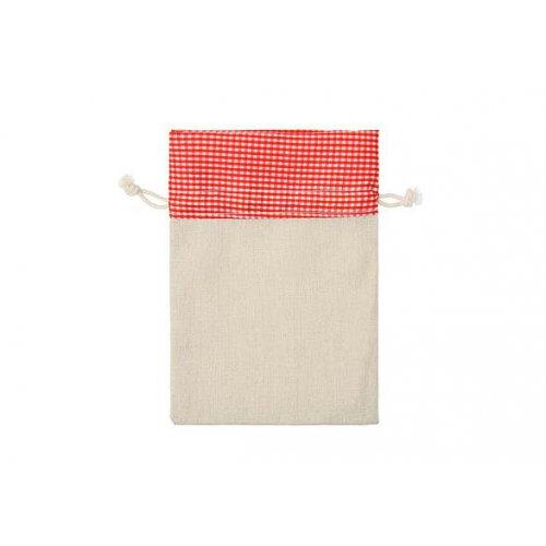 Sáček / textil s Karo kostkovaným vzorem 13 x 18 cm červený / bílý