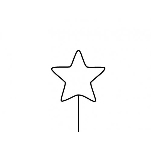 Drátěný základ pro dekorace / Hvězda s tyčkou na zapíchnutí / BÍLÁ