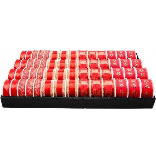 Stuhy dekorační vánoční motivy červená - prodejní display 56 rolí