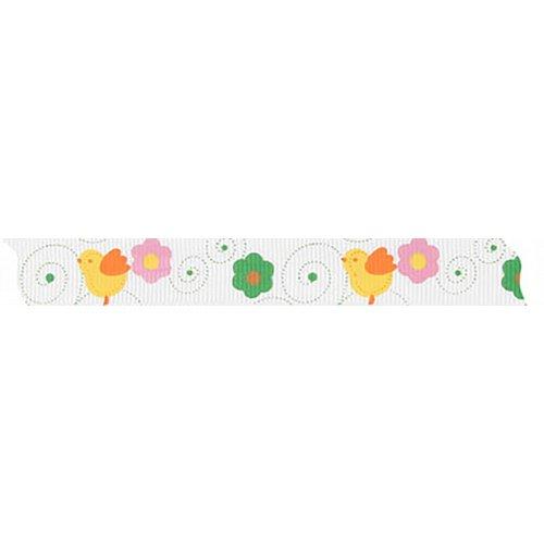 Velikonoční stuha KUŘÁTKO a KVĚTINY šířka 15 mm