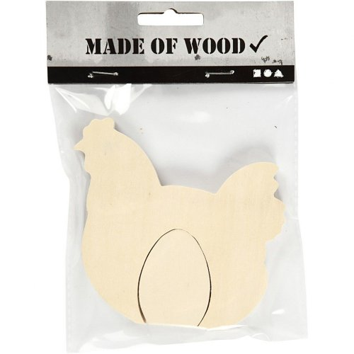 Dřevěná Velikonoční slepice s vejcem na dekorování
