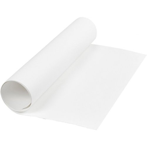 Papírová imitace kůže, šířka 50 cm, tloušťka 0,55 mm - bílá 1 m