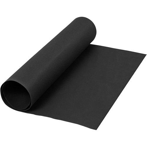 Papírová imitace kůže, šířka 50 cm - ČERNÁ