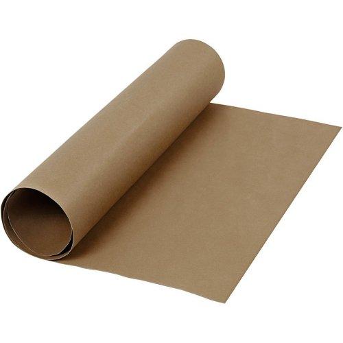 Papírová imitace kůže, šířka 50 cm, tloušťka 0,55 mm - hnědá 1 m