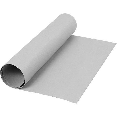 Papírová imitace kůže, šířka 50 cm, tloušťka 0,55 mm - šedá 1 m