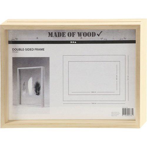Rámeček na obrázek dvojitý dřevo A4 hloubka 4,5 cm