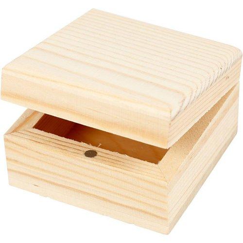 Dřevěná šperkovnička k dotvoření 6 x 6 x 3,5 cm