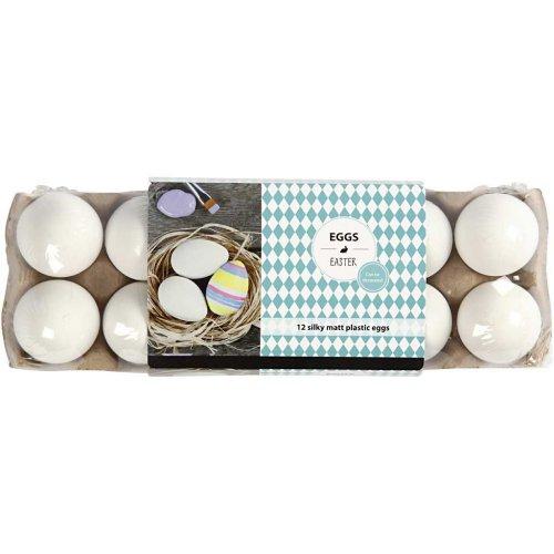 Plastové vajíčko bílé - 12 kusů v balení