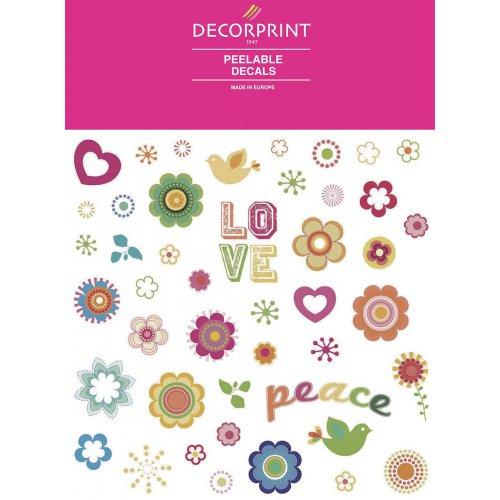 Obtisk na porcelán a sklo - LOVE & PEACE - 20x20 cm