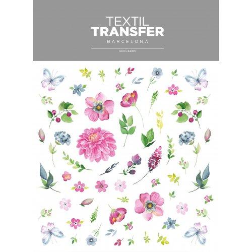 Obtisk na textil - KVĚTINOVÝ DESIGN - 20x20 cm