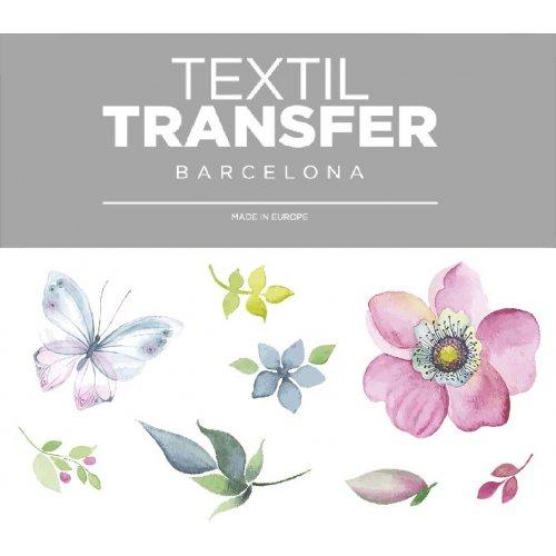 Obtisk na textil - KVĚTINOVÝ DESIGN - 10x5 cm