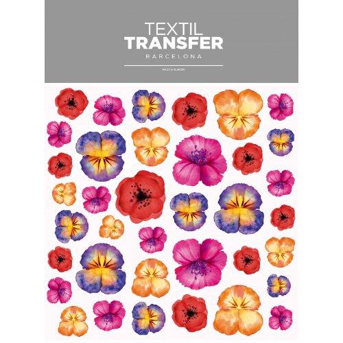 Obtisk na textil - SADA KVĚTŮ 2 - 20x20 cm