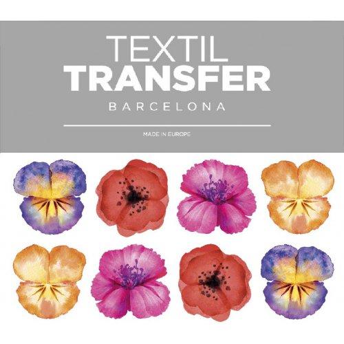 Obtisk na textil - SADA KVĚTŮ 2 - 10x5 cm