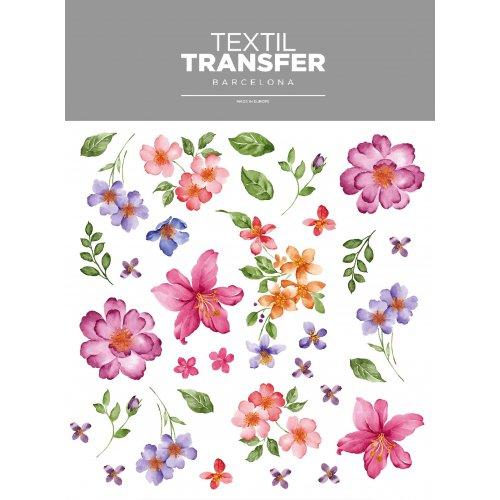 Obtisk na textil - SADA KVĚTŮ 3 - 20x20 cm