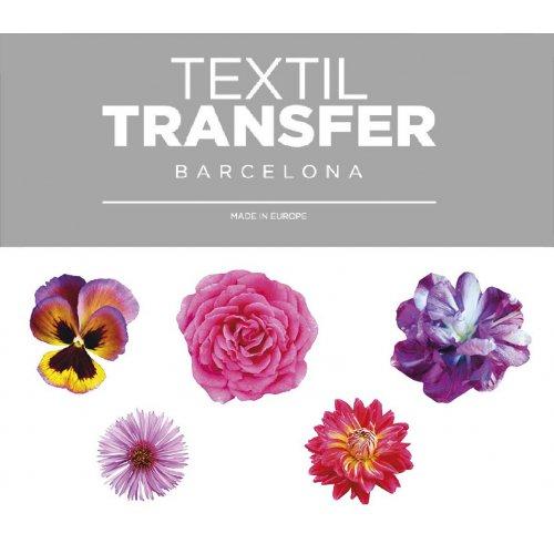 Obtisk na textil - SADA KVĚTŮ 4 - 10x5 cm