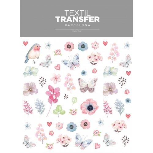 Obtisk na textil - PTÁK A KYTKY - 20x20 cm