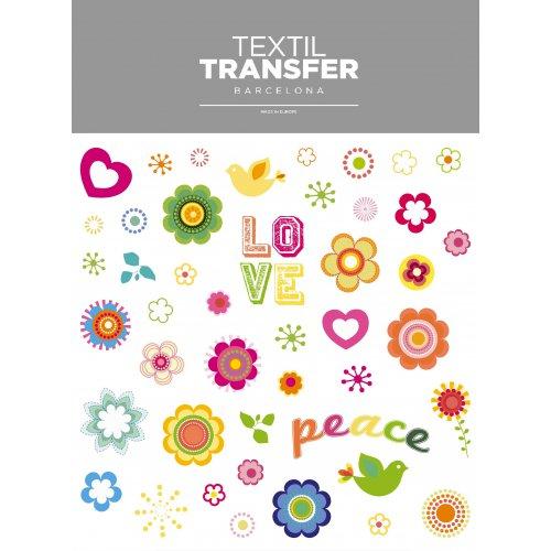 Obtisk na textil - LOVE & PEACE - 20x20 cm
