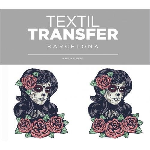 Obtisk na textil - LADY SMRTKA - 10x5 cm