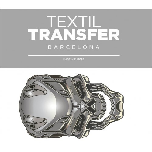 Obtisk na textil -  TITÁNOVÁ LEBKA - 10x5 cm