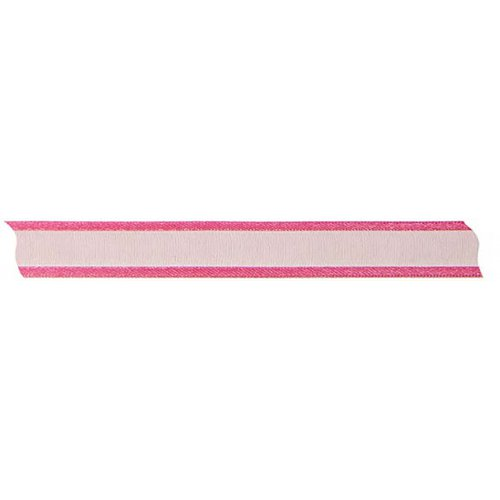 Stuha šifón se saténovým okrajem TMAVĚ RŮŽOVÁ 12 mm