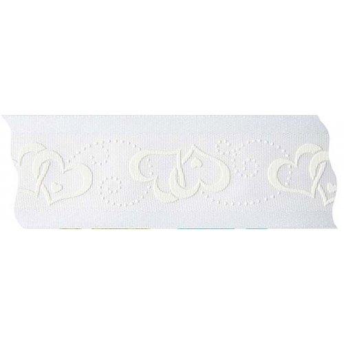Stuha svatební saténová SRDCE bílá šířka 40 mm