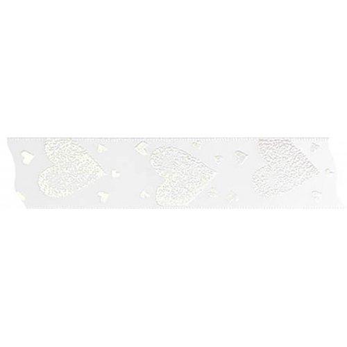Stuha saténová SRDCE bílá šířka 25 mm