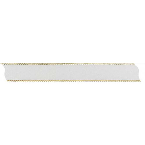 Stuha šifón průsvitná s drátěným lurexem KRÉMOVÁ / ZLATÁ šířka 15 mm