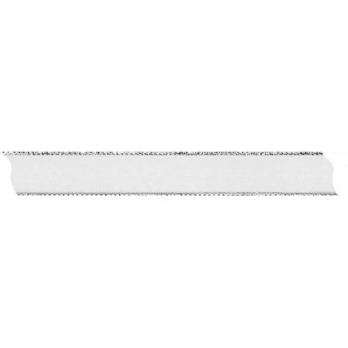 Stuha šifón průsvitná s drátěným lurexem BÍLÁ / STŘÍBRNÁ šířka 15 mm