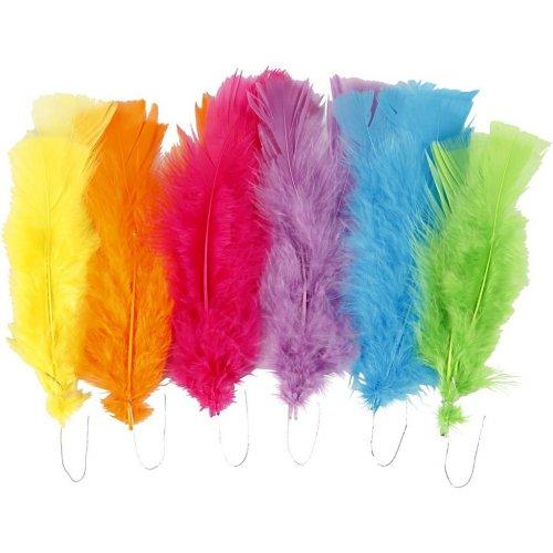 Peříčka vel. 11-17 cm různé jarní barvy 18 svazků
