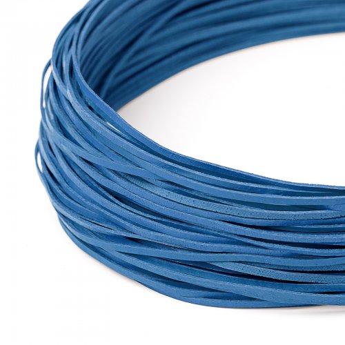 Kožený řemínek plochý 120 cm modrý