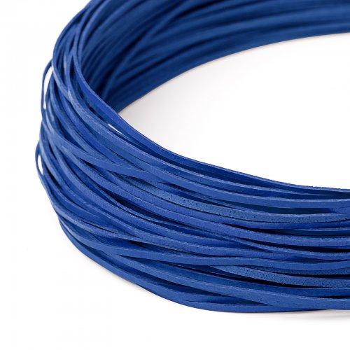 Kožený řemínek plochý 120 cm tmavě modrý