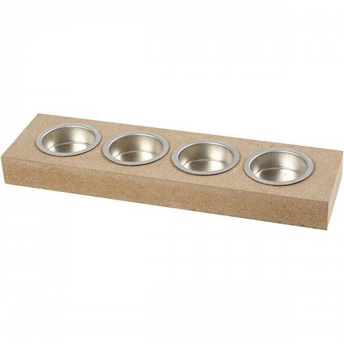 Držáček na čajovou svíčku k dotvoření 25x7 cm tvar obdélník na 4 svíčky