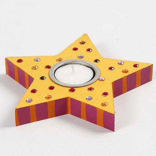 Držáček na čajovou svíčku k dotvoření 15x18 cm tvar hvězda na 1 svíčku - CC56708_image.jpg