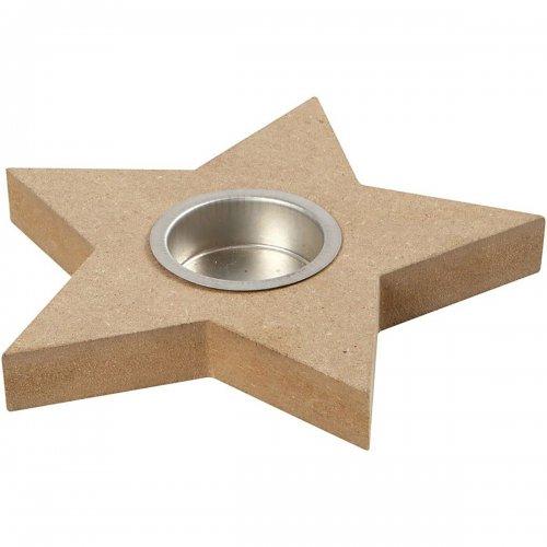 Držáček na čajovou svíčku k dotvoření 15x18 cm tvar hvězda na 1 svíčku