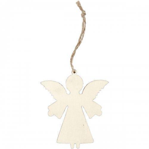 Anděl na zavěšení k dotvoření včetně šnůrky 8 x 7 cm, 4 ks v balení