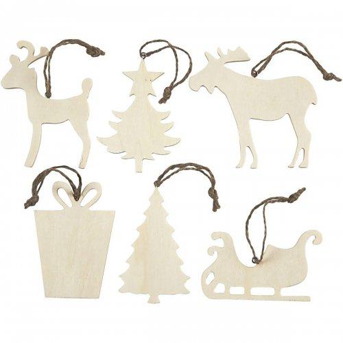 Vánoční ornamenty k dotvoření, 7 x 9 cm, 6 ks v balení