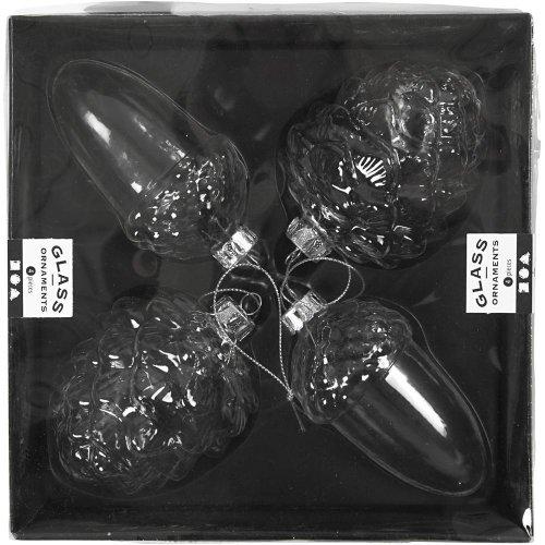 Skleněné baňky k dotvoření dva druhy, 5,5x9,5 cm, transparentní, 2+2 ks v krabičce - CC55903_a.jpg