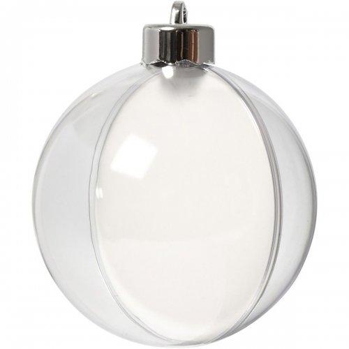 Plastová baňka k dotvoření, průměr 8 cm, transparentní, 5 ks