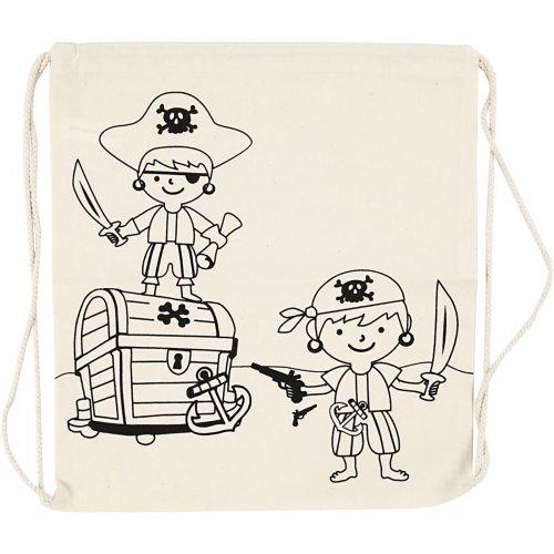 Malá taška se šnůrkou motiv PIRÁTI textil, 37 x  41 cm