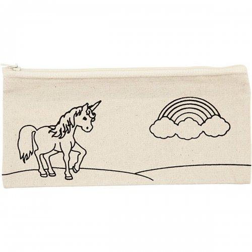 Pouzdro na tužky motiv JEDNOROŽEC textil, 21 x 9 cm