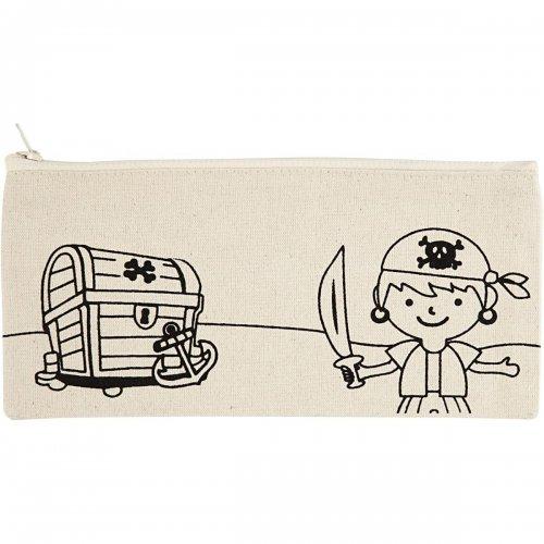 Pouzdro na tužky motiv PIRÁTI textil, 21 x 9 cm