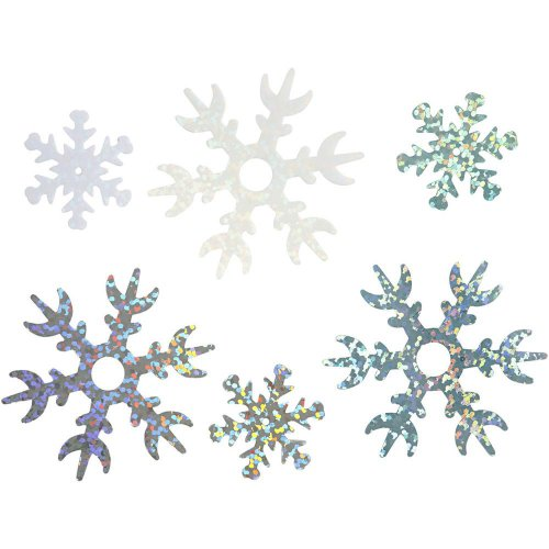 Flitr vločky 25+45 mm, sv. modrá, bílá, stříbrná, sněhová vločka, 30 g - CC52177.JPG